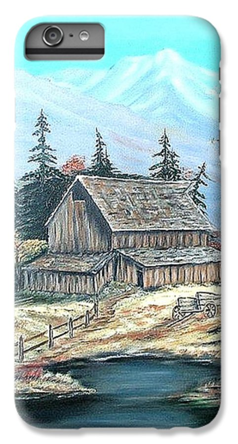 Landscape Pond Wagon Old Trees Mountain IPhone 6 Plus Case featuring the painting Old Barn Above The Pond by Kenneth LePoidevin