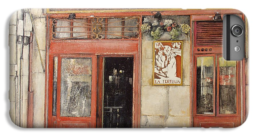 Cafe IPhone 6 Plus Case featuring the painting Old Cafe- Santander Spain by Tomas Castano