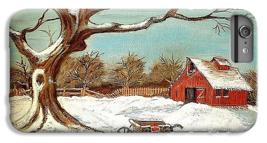 Old Tree Barn Wheelbarrow Snow Winter Painting IPhone 6 Plus Case featuring the painting Old Tree And Barn by Kenneth LePoidevin