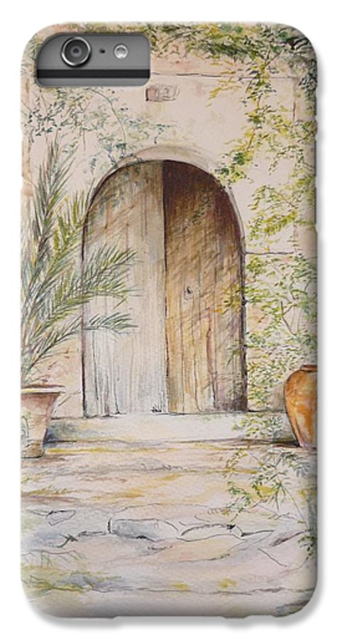 Door IPhone 6 Plus Case featuring the painting Old Wooden Door by Lizzy Forrester