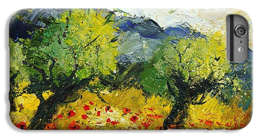 Flowers IPhone 6 Plus Case featuring the painting Olive Trees And Poppies by Pol Ledent