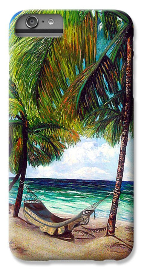 Beach IPhone 6 Plus Case featuring the painting On The Beach by Jose Manuel Abraham