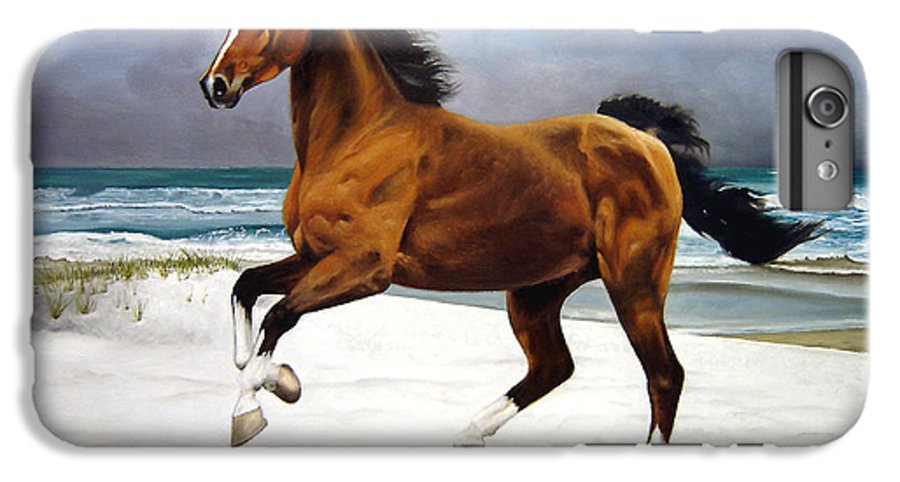 Horse IPhone 6 Plus Case featuring the painting On The Beach by Marc Stewart