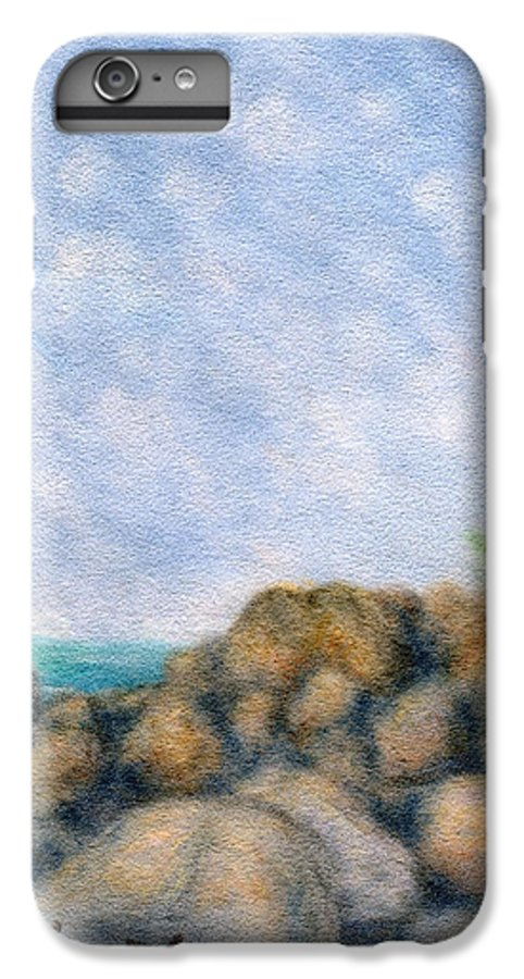 Rainbow Colors Pastel IPhone 6 Plus Case featuring the painting On The Rocks by Kenneth Grzesik