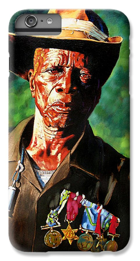 Black Soldier IPhone 6 Plus Case featuring the painting One Armed Soldier by John Lautermilch