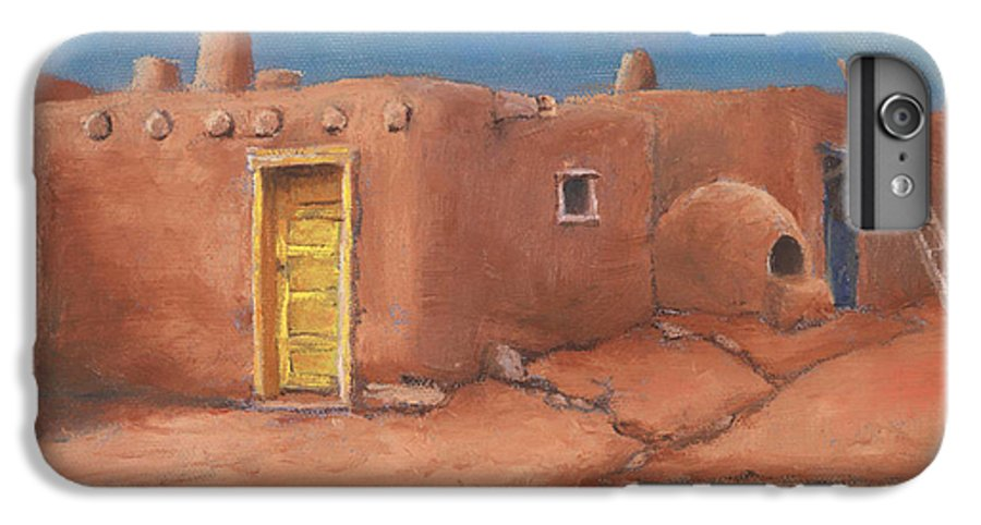 Taos IPhone 6 Plus Case featuring the painting One Yellow Door by Jerry McElroy