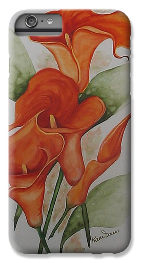 Floral Orange Lily IPhone 6 Plus Case featuring the painting Orange Callas by Karin Dawn Kelshall- Best
