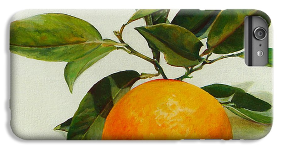 Floral Painting IPhone 6 Plus Case featuring the painting Orange Cueillie by Muriel Dolemieux
