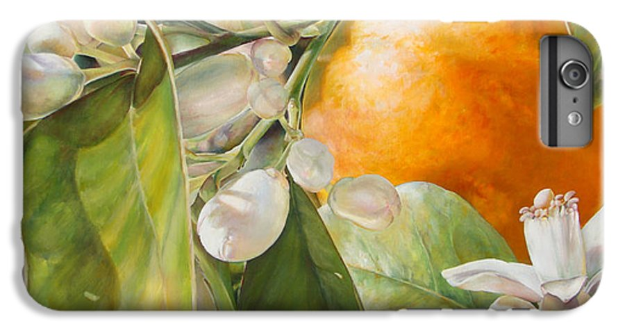 Floral Painting IPhone 6 Plus Case featuring the painting Orange Fleurie by Dolemieux
