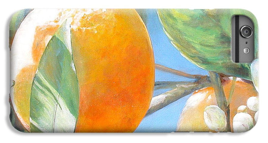 Floral Painting IPhone 6 Plus Case featuring the painting Orange by Muriel Dolemieux
