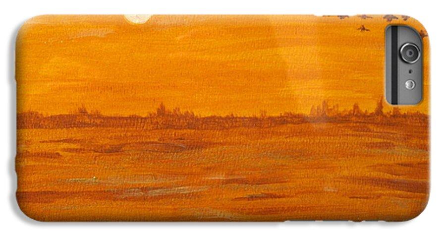 Orange IPhone 6 Plus Case featuring the painting Orange Ocean by Ian MacDonald