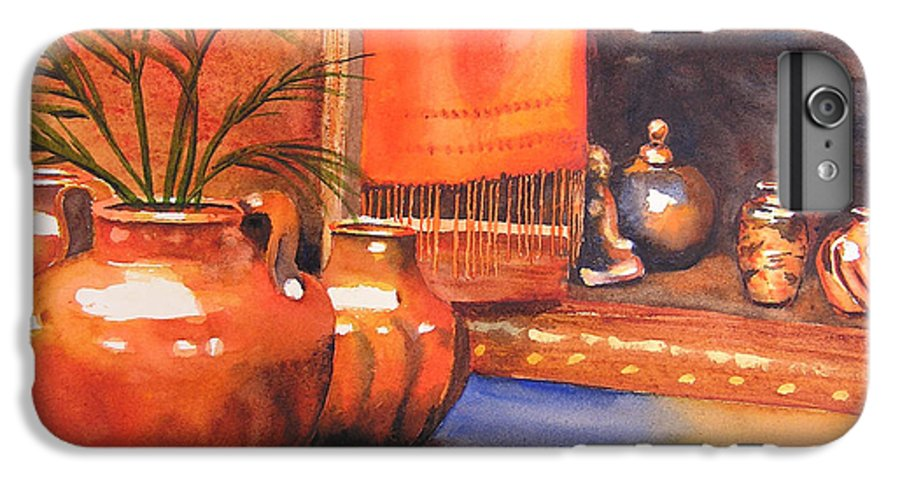 Pottery IPhone 6 Plus Case featuring the painting Orange Scarf by Karen Stark