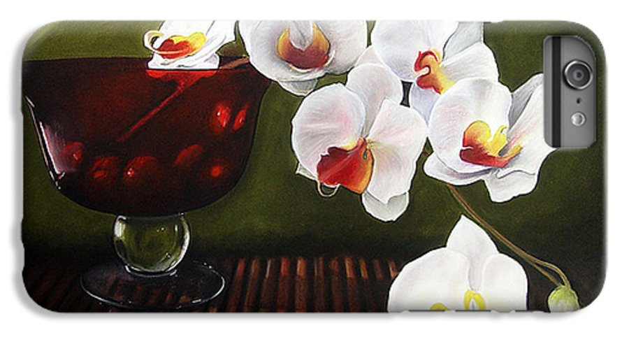 Floral IPhone 6 Plus Case featuring the painting Orchid Cascade by Colleen Brown