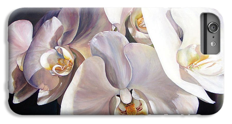 Floral Painting IPhone 6 Plus Case featuring the painting Orchidee by Muriel Dolemieux