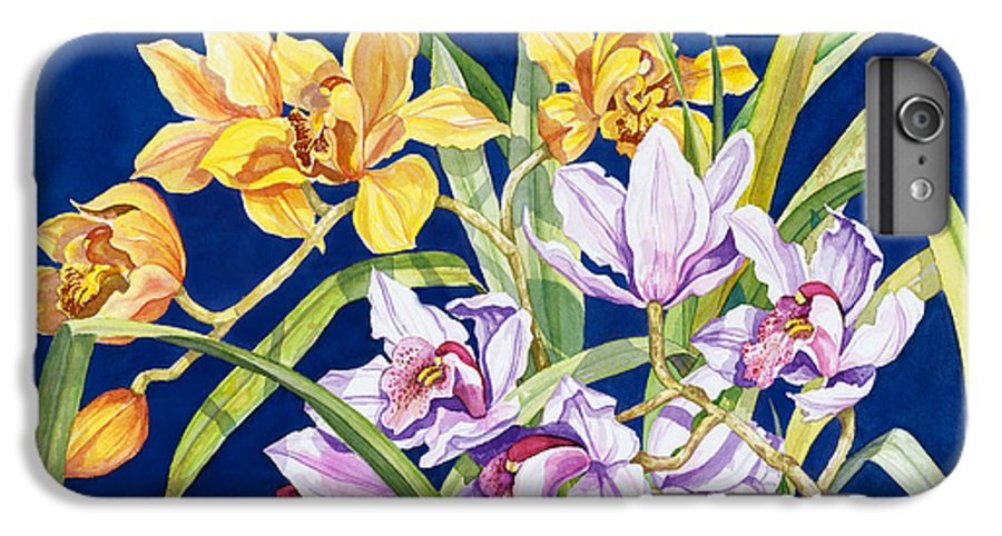 Orchids IPhone 6 Plus Case featuring the painting Orchids In Blue by Lucy Arnold