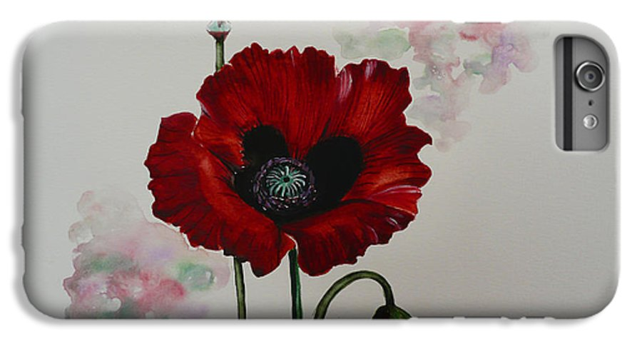 Floral Poppy Red Flower IPhone 6 Plus Case featuring the painting Oriental Poppy by Karin Dawn Kelshall- Best