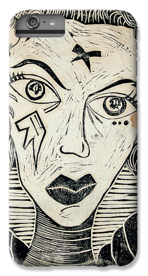 Block Print IPhone 6 Plus Case featuring the print Original Devil Block Print by Thomas Valentine
