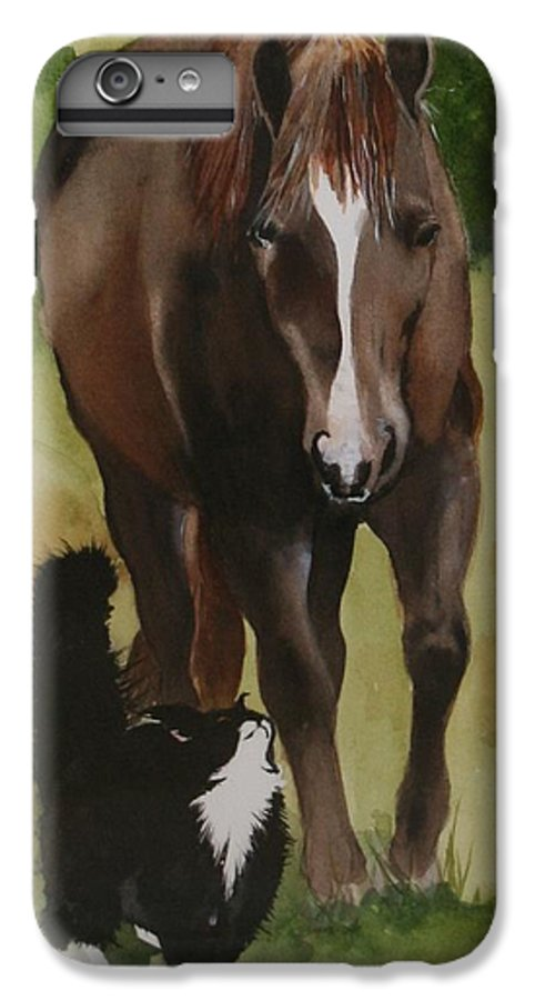 Horse IPhone 6 Plus Case featuring the painting Oscar And Friend by Jean Blackmer
