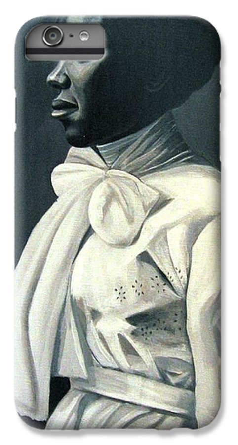 Portrait IPhone 6 Plus Case featuring the painting Out Of The Box Woman In Large White Bow by Joyce Owens