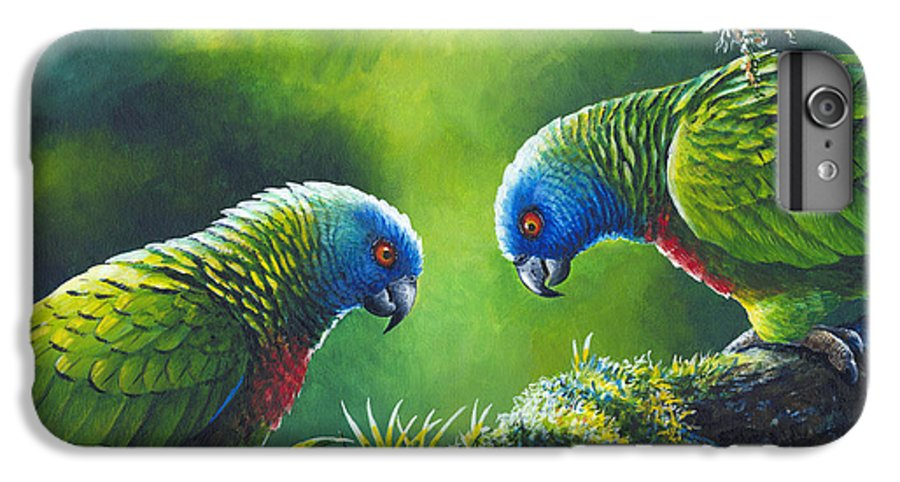 Chris Cox IPhone 6 Plus Case featuring the painting Out On A Limb - St. Lucia Parrots by Christopher Cox