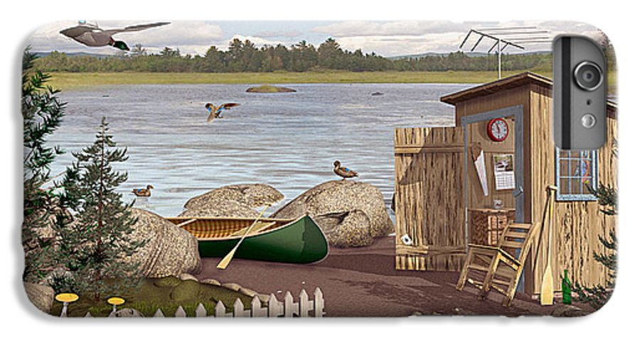 Outhouse IPhone 6 Plus Case featuring the painting Out Thayuh by Peter J Sucy