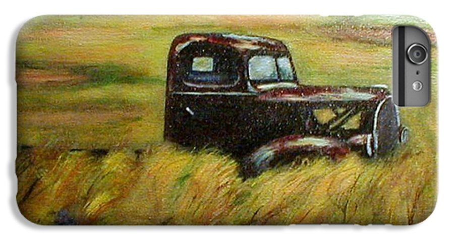 Vintage Truck IPhone 6 Plus Case featuring the painting Out To Pasture by Gail Kirtz