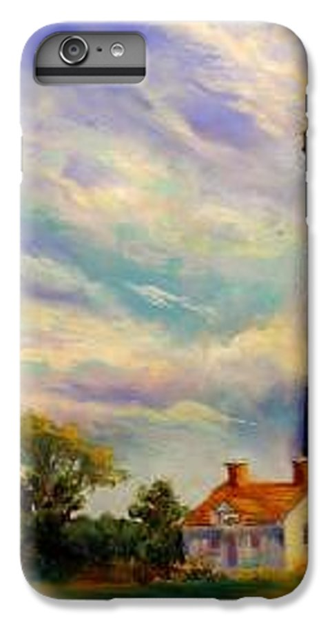 Lighthouse IPhone 6 Plus Case featuring the painting Outer Banks Lighthouse by Lynee Sapere
