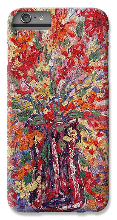 Painting IPhone 6 Plus Case featuring the painting Overflowing Flowers. by Leonard Holland