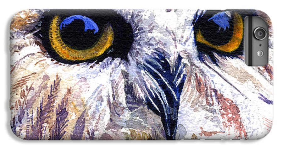 Eye IPhone 6 Plus Case featuring the painting Owl by John D Benson