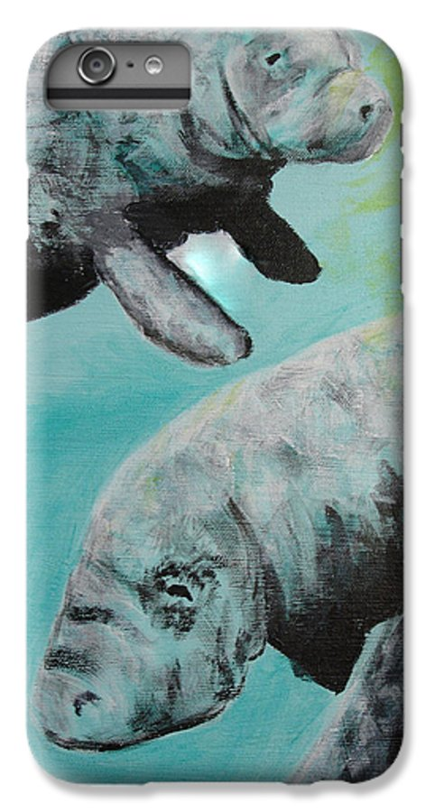 Florida IPhone 6 Plus Case featuring the painting Pair Of Florida Manatees by Susan Kubes