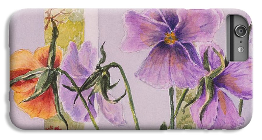 Florals IPhone 6 Plus Case featuring the painting Pansies On My Porch by Mary Ellen Mueller Legault