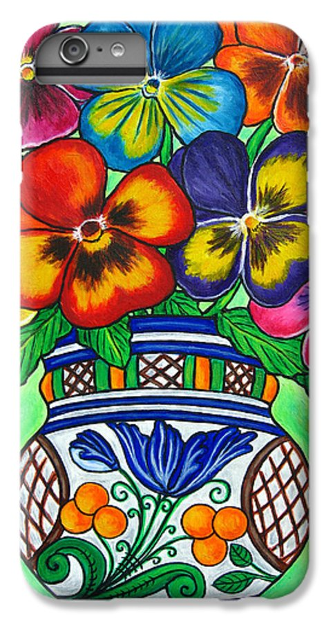 Flower IPhone 6 Plus Case featuring the painting Pansy Parade by Lisa Lorenz