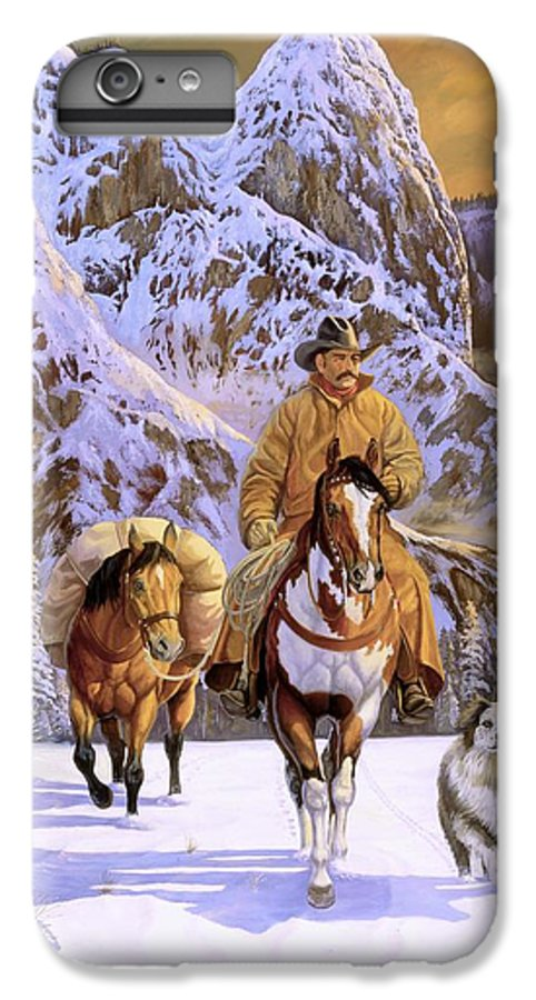 Cowboy IPhone 6 Plus Case featuring the painting Pardners by Howard Dubois