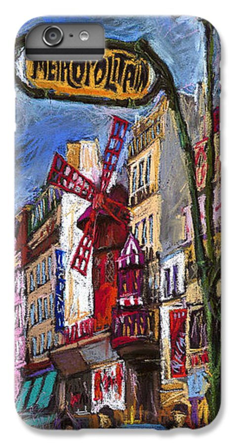 Cityscape IPhone 6 Plus Case featuring the painting Paris Mulen Rouge by Yuriy Shevchuk