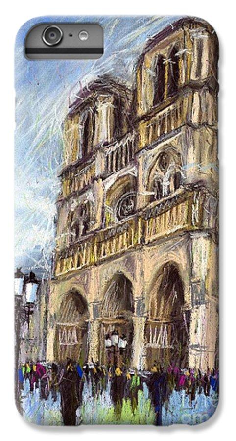 Cityscape IPhone 6 Plus Case featuring the pastel Paris Notre-dame De Paris by Yuriy Shevchuk