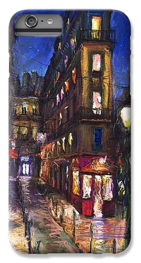 Landscape IPhone 6 Plus Case featuring the painting Paris Old Street by Yuriy Shevchuk