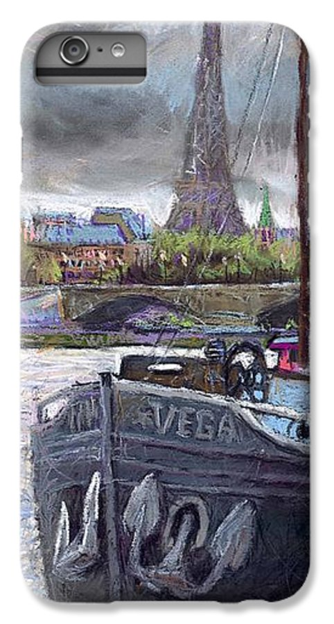 Pastel IPhone 6 Plus Case featuring the painting Paris Pont Alexandre IIi by Yuriy Shevchuk