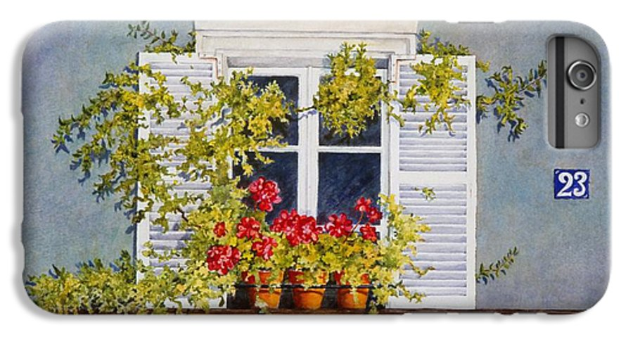 France IPhone 6 Plus Case featuring the painting Parisian Window by Mary Ellen Mueller Legault