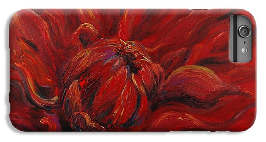 Red IPhone 6 Plus Case featuring the painting Passion II by Nadine Rippelmeyer