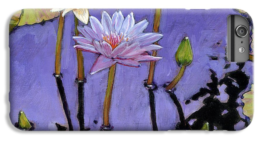 Water Lilies IPhone 6 Plus Case featuring the painting Pastel Petals by John Lautermilch