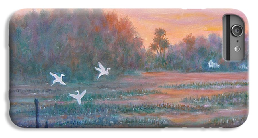 Low Country; Egrets; Sunset IPhone 6 Plus Case featuring the painting Pawleys Island by Ben Kiger