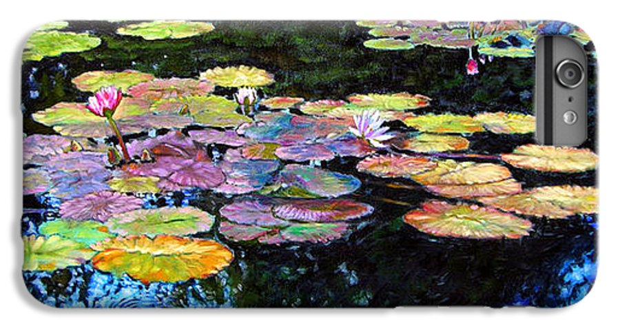 Water Lilies IPhone 6 Plus Case featuring the painting Peace Among The Lilies by John Lautermilch
