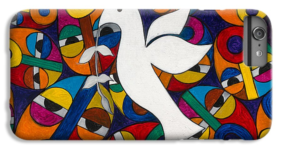 Dove IPhone 6 Plus Case featuring the painting Peace On Earth by Emeka Okoro