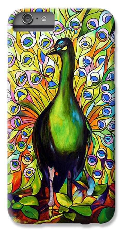 Bird IPhone 6 Plus Case featuring the painting Peacock by Jose Manuel Abraham