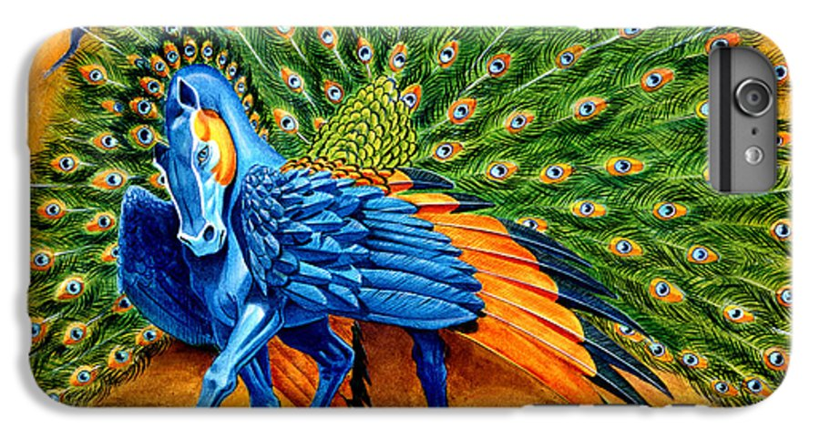 Horse IPhone 6 Plus Case featuring the painting Peacock Pegasus by Melissa A Benson