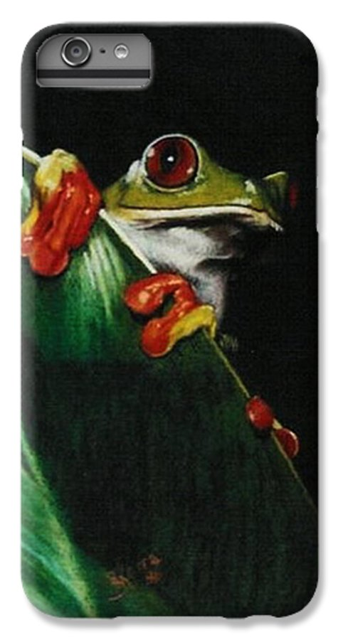 Frog IPhone 6 Plus Case featuring the drawing Peek-a-boo by Barbara Keith
