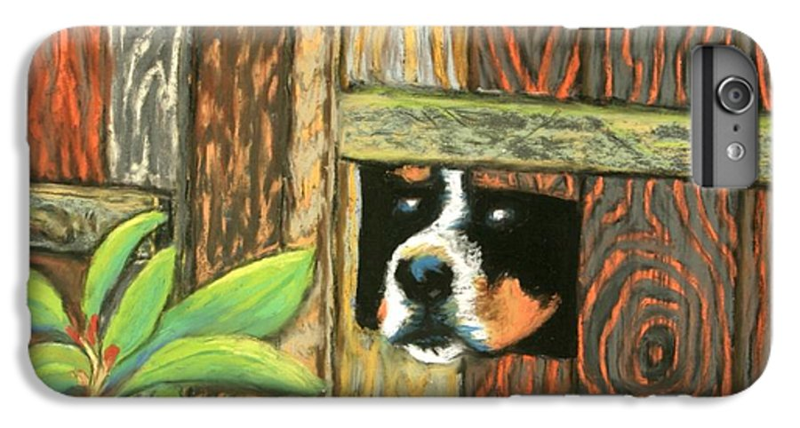 Dog IPhone 6 Plus Case featuring the painting Peek-a-boo Fence by Minaz Jantz