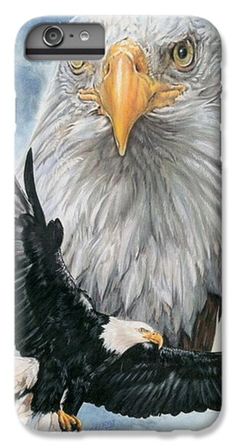 Bald Eagle IPhone 6 Plus Case featuring the mixed media Peerless by Barbara Keith