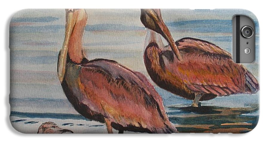 Pelicans IPhone 6 Plus Case featuring the painting Pelican Party by Karen Ilari