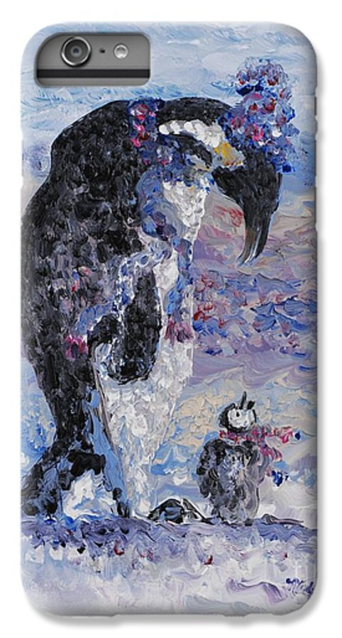 Penguins Winter Snow Blue Purple White IPhone 6 Plus Case featuring the painting Penguin Love by Nadine Rippelmeyer